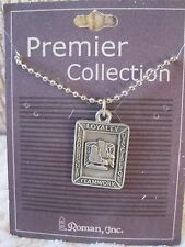 """hockey medal/pendant with 24"""" beaded chain has cross on back new carded"""