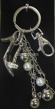 New Sparkling Bling Shoe Key Ring Keyring Silver Tone with Diamontes,Beads,Chain