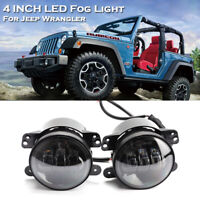 Paar 4'' LED Tagfahrlicht Nebelscheinwerfer Tagfahrleuchten für Jeep Wrangler JK