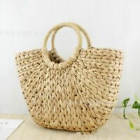Women Wicker Handbag Bags Totes Beach Straw Woven Lady Outdoor Rattan Basket Bag