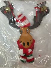 Reindeer Christmas Ornaments 1994 Kurt Adler Wooden Reindeer Face with Knit Hat