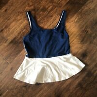 Express Womens Navy White Sleeveless Peplum  Top Size Small (J)