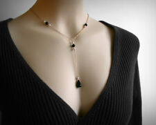 NEW, Y Necklace, Genuine Black Onyx, 14K Gold Filled, Swarovski Faux Pearls.