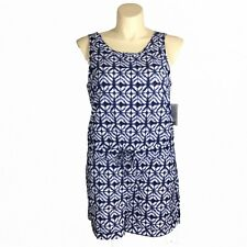 ad9ad4a4a1d Athleta XL Romper Crossback Printed Batik Short Navy Blue White Pocket