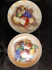 Set of 2 Porcelian Hand Painted Fruit Wall Decor Plates signed  J Nagasaki Japan