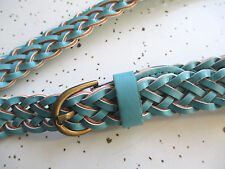 "Womens Super Skinny Blue Braided Belt size 16 XL fits waist up to 42"" - 44"""