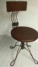 Vintage 1900 antique piano / organ stool Victorian Industrial adjustable chair