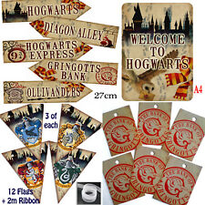Harry Potter PARTY PACK -12 Flag Bunting/Welcome Sign/5 Arrows+6 Gringotts Tags
