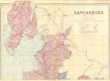 Lancashire (nord-feuille). antique county map by gw bacon 1883 old