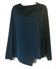 SUPER CHIC STRETCH BLOUSE NAVY TEAL TOP BLOUSE STRETCH DRAPED LAYERED LADIES 18