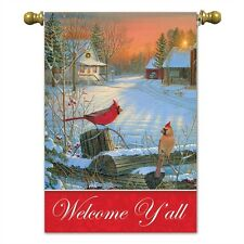 """Welcome Y'all Cardinals House Flag  30"""" x 44"""" Double sided Flag Birds Winter"""