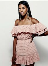NWT Free People pink coral Eyelet Lace Off The Shoulder Ruffled Mini Dress M