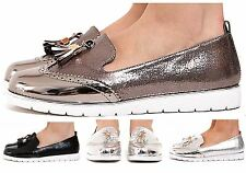 New Womens Low Wedge Heel Slip On Metallic Hue Tassled Shimmer Brogue Loafers