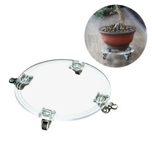 Round Movable Plant Caddy Potted Transparent Pallet with 4 Swivel Caster Wheels