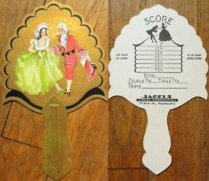 Art Deco 1930s Advertising Fan & Bridge Tally: Couple - Hoboken, NJ Fuel Co.