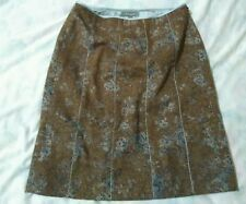 Brown blue gray skirt stripe, recycled wool, polyester, rayon, Ann Taylor,