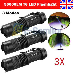 1-3pcs Tactical Police 50000LM Zoomable 3 Mode T6 LED Flashlight Torch Work Lamp