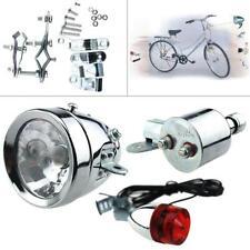 6W Bicycle Motorized Bike Friction Generator Dynamo Headlight Tail Light Set 12V