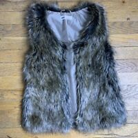 H&M Girls Faux Fur Vest Sleeveless Outerwear Size 10-12 Years Brown Lined