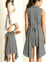 Umgee Dress Size XL S M L Black Checkered Tank Shift Free Boho People Womens New