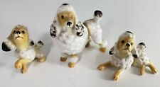 """Lot of 3 White Standard Poodle Dogs (1) 2.5"""" Figurine 2 Smaller Rare Vintage"""