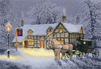 Heritage Crafts John Clayton Cross Stitch Kit - Christmas Inn
