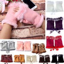 Korean Womens Warm Winter Rabbit Fur Leather Suede Adjustable Fingerless Gloves