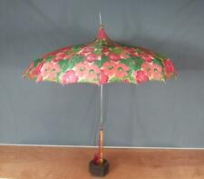Vintage 1950s Umbrella Parasol Rain Sun Flowers w/Bamboo & Lucite Handle Display