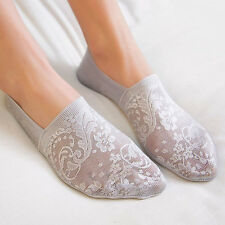 Gray Women Cotton Lace Flower Short Sock Antiskid Invisible Liner Low Cut Sock