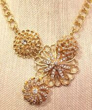 Boutique Gold Tone Necklace Clear Stones Floral Premier Jewelry Chic Fashion NB2