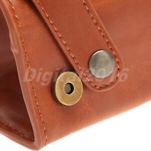 Men's Travel Wash Cosmetic Bag Shaving Toiletry Case PU Leather Brown Best Gifts