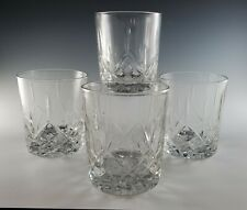 4 Cut Crystal Double Old-Fashioned WHISKEY Tumblers, Unsigned, Germany NICE