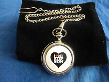 I LOVE MY STEP SON CHROME POCKET WATCH WITH CHAIN (NEW)