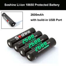4 Pieces Soshine 3.7V 18650 Li-ion 2600mAh Protected Battery Built-In USB Ports