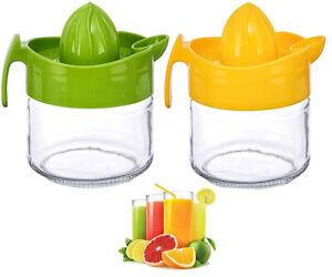 Glass Fruit Juicer Lemon Lime Orange Hand Press Manual Citrus Squeezer Jug