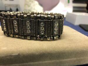 METAL and FAUX DIAMOND STYLE STRETCH STATEMENT CUFF BRACELET
