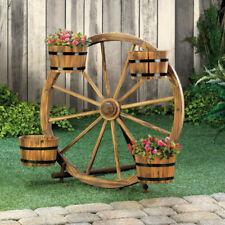New Rustic Outdoor Garden Decor Wood Wagon Wheel Plant Flowers Stand 4 Barrels