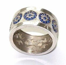 Sterling silver 925 Evil Eye ring with white topaz and blue sapphire size 7