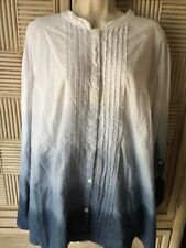 Womens Plus Size 3X Catherines Ombre Cotton Blouse Beaded Pleated