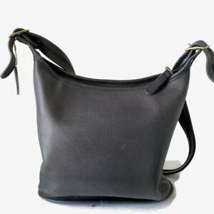 Vtg COACH Slim Duffle GRAY Leather Shoulder Bucket Saddle Bag USA
