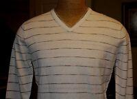 DILLARDS PERRY ELLIS Vanilla Striped Mens V Neck Knit Sweater L NWT E157 MSRP 79