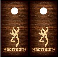 Browning Vintage Wood Hunting Cornhole Board Decal Wrap Wraps (brown)