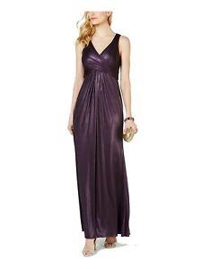 Adrianna Papell Women's Dress Purple Size 14 Metallic Jersey Gown $179 #563
