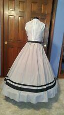 Civil War Reenactment Gray Cotton Skirt Trimmed in Black