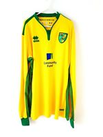 Norwich City Home Shirt 2016. XXXL 3XL Errea Yellow Adults Long Sleeved Top Only