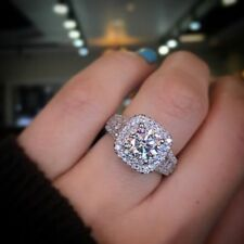 2ct dvvs1 round cut diamond halo solitaire engagement wedding ring 14k gold over