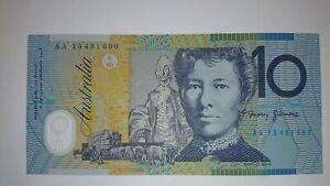 2015 Australia Stevens/Fraser $10 Ten Dollar Note AA First Prefix UNC R323F