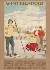 Vintage Ski Posters WINTERSPORT, Swiss, Carlo Pellegrini, A3 Travel Print