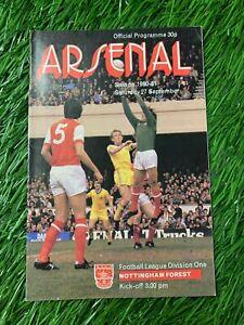 ARSENAL LONDON VS NOTTINGHAM FOREST 1980/1981 MATCH PROGRAMME FOOTBALL SIGNED