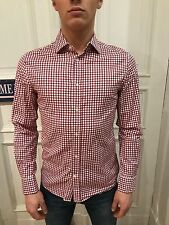 H&M Slim Fit Business Hemd Freizeithemd Gr. S rot kariert 100% Cotton wie NEU